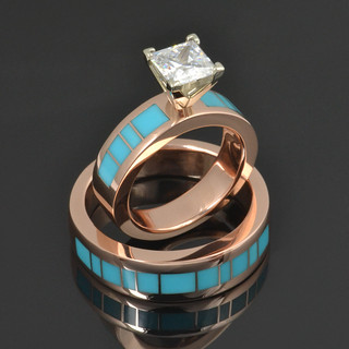 Rose Gold Turquoise Wedding Band and Diamond Engagement Ring | by Mark Hileman Jewelry