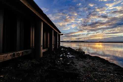 bassrivertownship newjersey unitedstates us bulkhead nj newgretna bassriver hdr rokinon14mm sunrise saltmarsh river construction hardshoreline shoreline