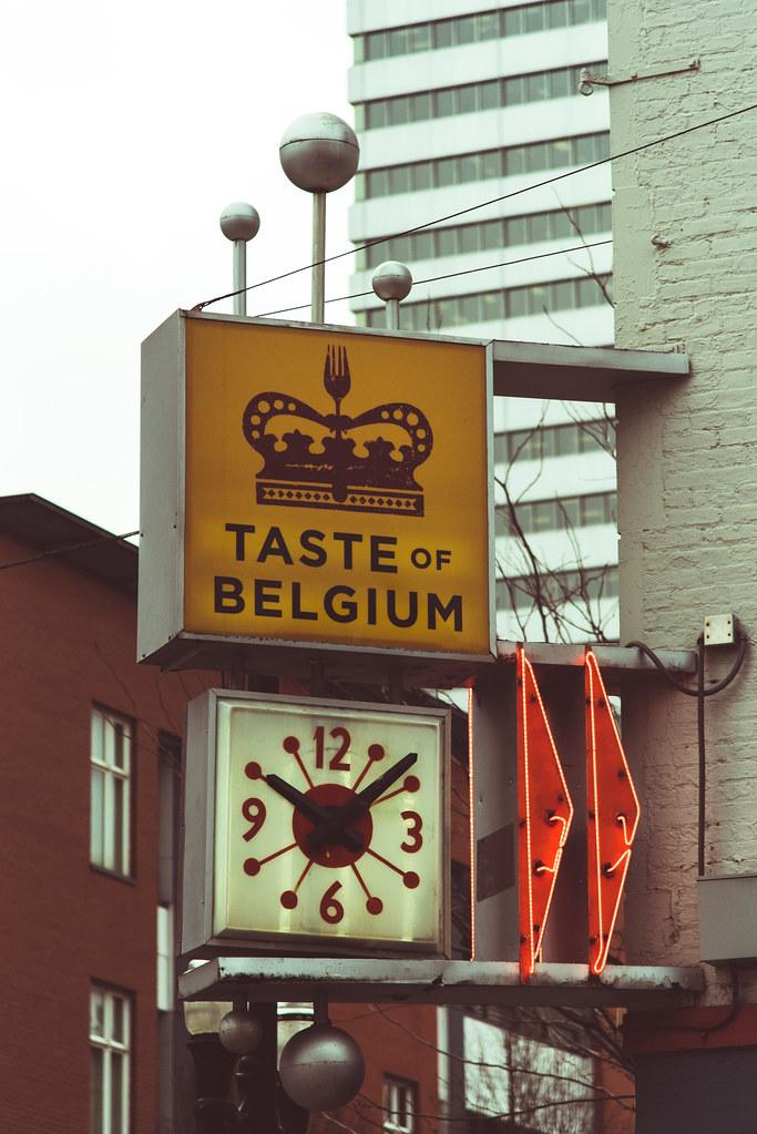 The sign at the Taste of Belgium in OTR, Cincinnati