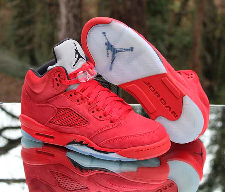 4c45c6696356 ... Nike Air Jordan 5 Retro GS Red Suede Black 440888-602 Size 7Y | by