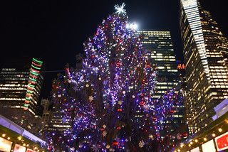 A Picture Of The 2018 Bryant Park Christmas Tree In New York City. The Bryant Park Christmas Tree Was Lit On Tuesday Friday December 4, 2018. Photo Taken Friday December 7, 2018