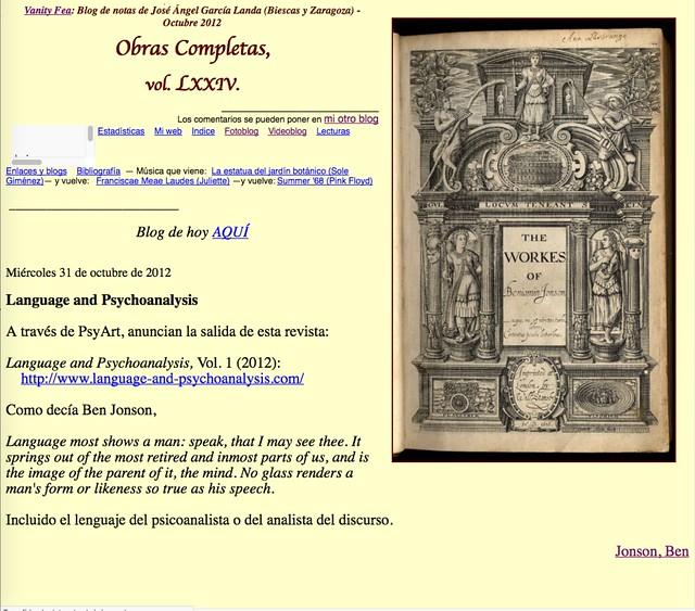 Obras Completas, vol. LXXIV (Blog de notas de octubre de 2012)