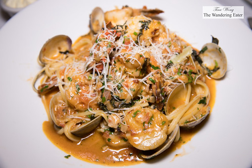 Seafood Pescatore - shrimp, scallops, clams, lobster, pomodoro sauce over linguine | by thewanderingeater