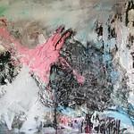 Koscha Acryl Teer Collage auf Faserplatte 103x130 2018