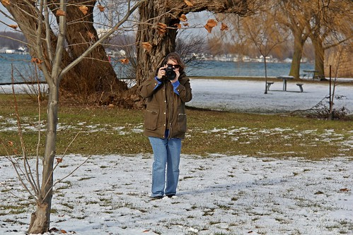 photographer park camera trees snow