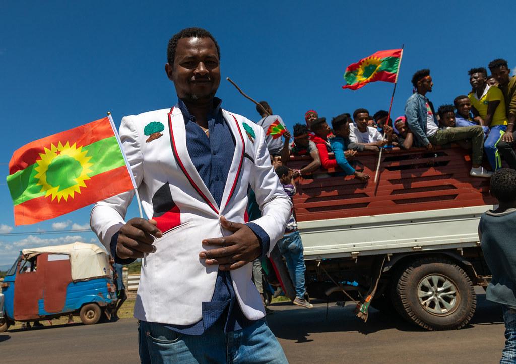Men celebrating the oromo liberation front party, Oromia