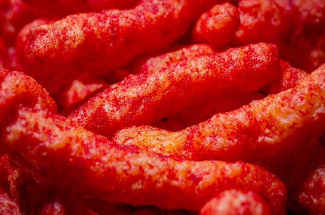 Closeup view of Flamin' Hot Cheetos