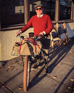 """Coffeeneuring 2018, Ride 6: Thursday November 15. A """"business business"""" themed one with @ejpevents. Featuring: a mailbox, a post office, coffee at Case Study, a @tweedpdx meeting at Moon and Sixpence, and oh yeah, (almost) matching sweaters. 😎"""