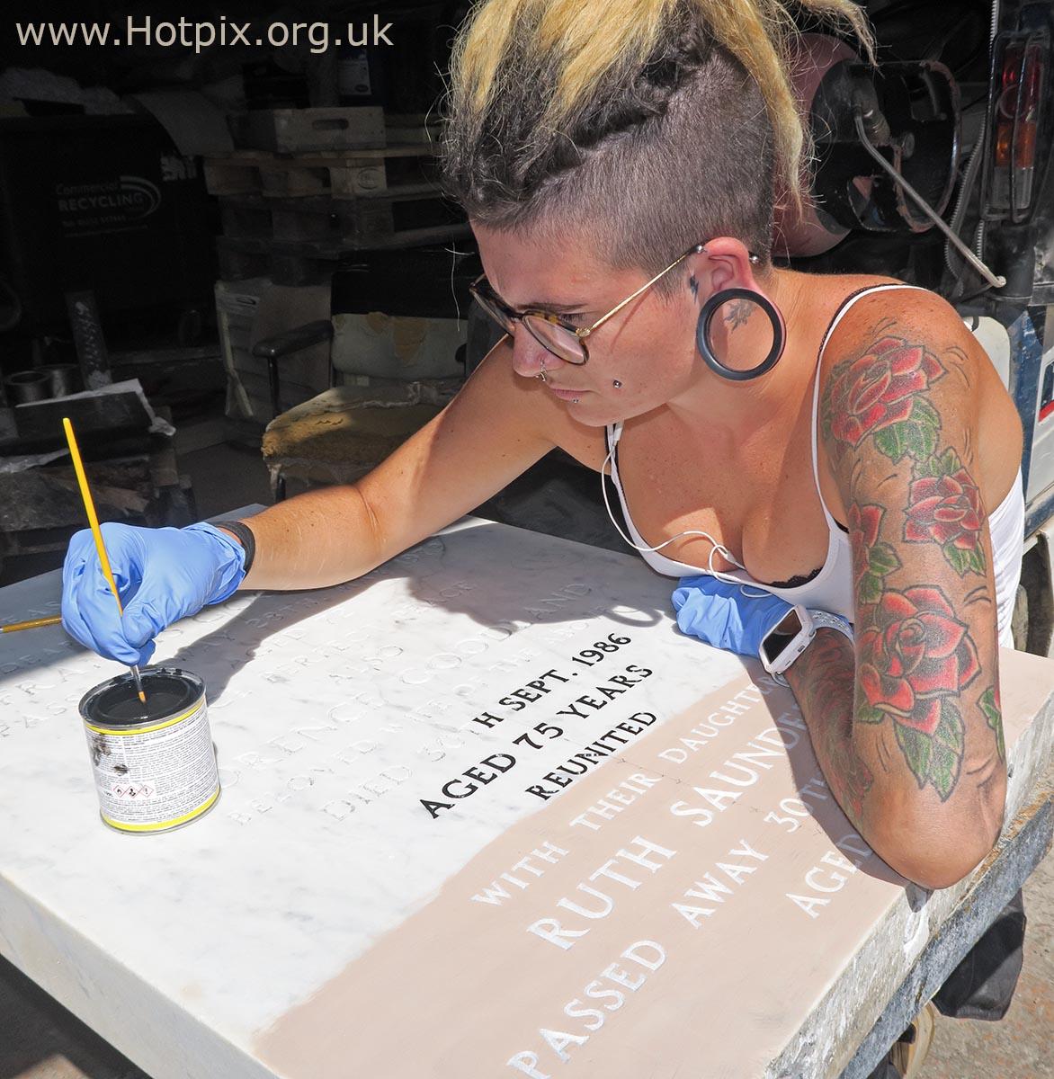 GoTonySmith,HotpixUK,Hotpix,Tony Smith,HousingITguy,365,Project365,2nd 365,HotpixUK365,lady,female,woman,gravestone,Bridgwater,Somerset,England,Artist,tats,tattoo,tattoos,paint,painting,mason,masons
