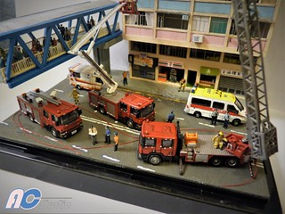 1:150 Scale Hong Kong High-rise Tenement Residential Building on Fire Diorama