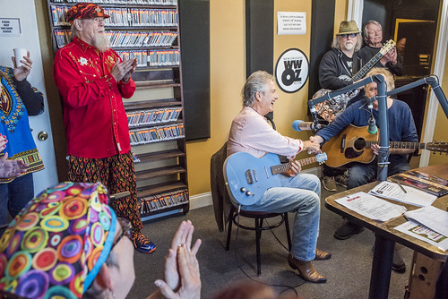 Tommy Boehm, Spencer Bohren, Jimmy Robinson, Papa Mali at WWOZ's 38th birthday - 12.4.18. Photo by Ryan Hodgson-Rigsbee rhrphoto.com.