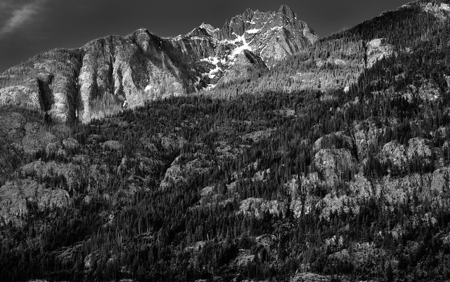 A View of Castle Rock from the North Cascades Lodge at Stehekin (Black & White, North Cascades National Park Service Complex)