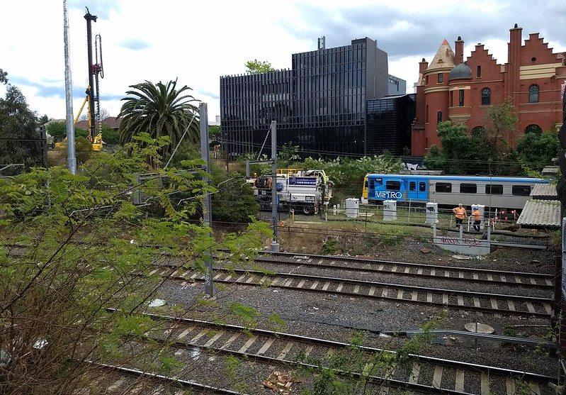 South Yarra - Metro tunnel works October 2018, looking SW