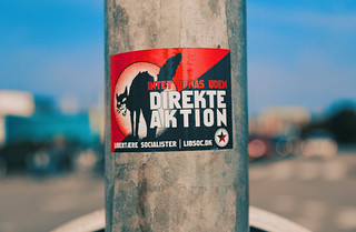 Libertære Socialister Sticker - Nothing is achieved without direct action - Copenhagen, Denmark