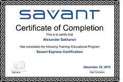 Alexander Sakharov - Savant Express Certification - Completion Certificate