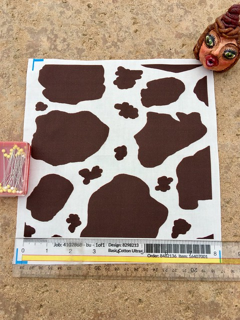 """""""Cow spots, dark chocolate brown and white"""", large scale, 8x8 inch fabric test swatch. Original artwork hand drawn by me digitally."""