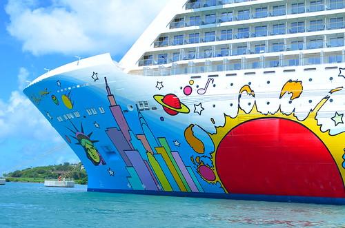 saintlucia ship cruiseship castries port norwegianbreakaway ncl norwegiancruiseline art petermax