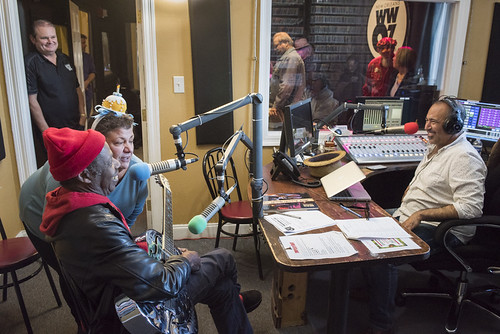 Walter Wolfman Washington on the air with Beth Arroyo Utterback and Marc Stone at WWOZ's 38th birthday - 12.4.18. Photo by Ryan Hodgson-Rigsbee rhrphoto.com.