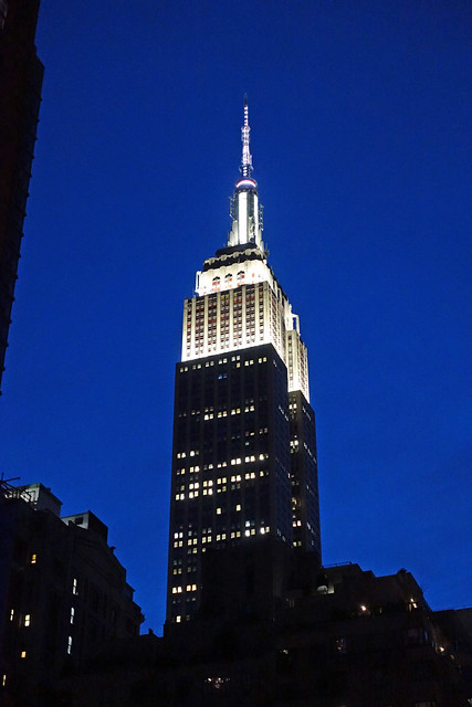 Empire State Building NHL & NHP lighting in ist signature color white in the Garment District of Manhattan in New York City, NY