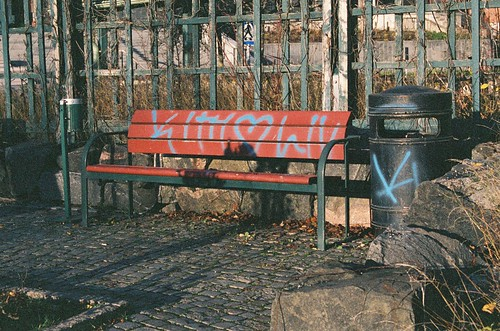 < bench and trash can, tagged > | by Mister.Marken