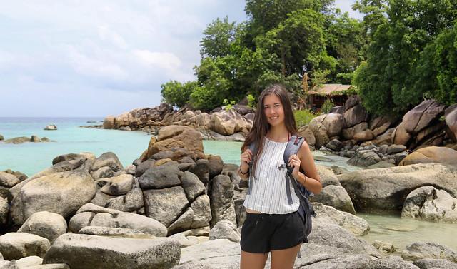 Samantha exploring Pattaya beach on Koh Lipe