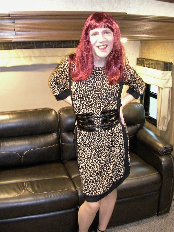 Leopard print dress & black belt