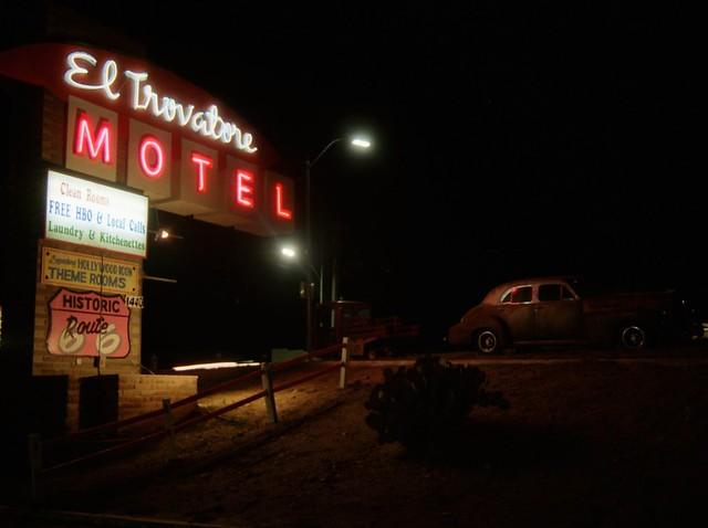 El Trovadore Motel Sign at Night