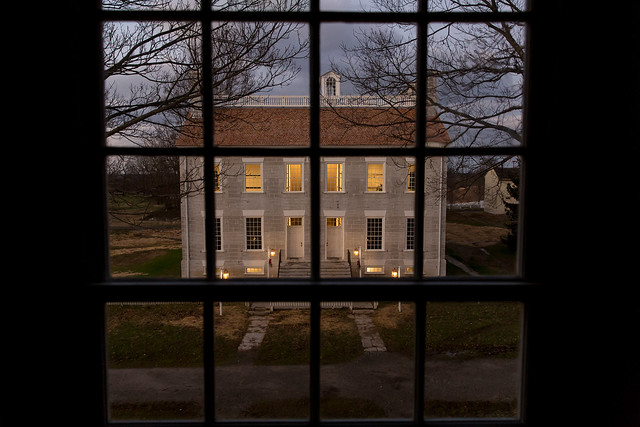 Centre Hall from the Meeting House at dusk