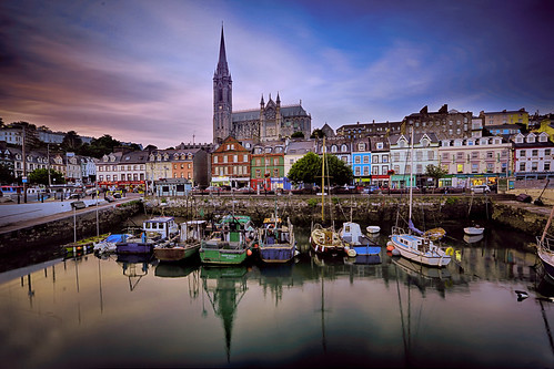 stcolman'scathedral cobhharbour cobhcathedral colourfulboats colourful boats reflection ocean northatlanticocean building sunset finalportofcall titanic cobh cork ireland landscape canon5dmarkiii ef1635mmf28liiusm houses travel lifeng