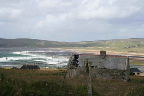 ireland sea clouds landscape view ruin countymayo broadhaven