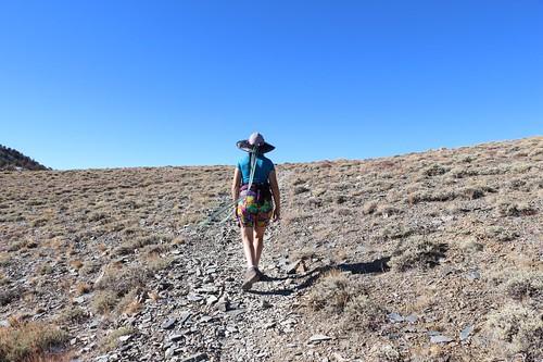 0824 Vicki approaches the ridgeline on the Telescope Peak Trail | by _JFR_