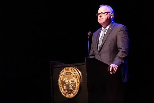 Governor Tim Walz addresses the audience at the Fitzgerald Theater after being sworn in as Minnesota's 41st governor, St Paul MN | by Lorie Shaull