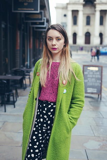 Green Coat, Sasha Velour Pin and Collusion spotty trousers | by Chelsea Jade Loves