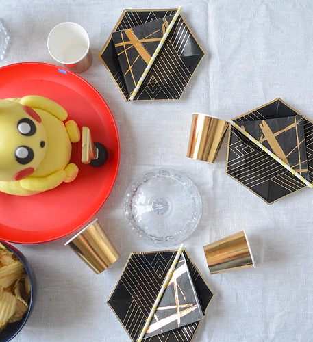 Pokemon birthday party with Pikachu cake and black & gold tableware | by jutta / kootut murut