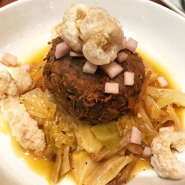 #kvpnola One very tasty, savory namesake at @cochon_nola. Louisiana cochon with cracklins plus cabbage and pickled turnips. This is a delicious homage to suckling pig. When you add Chicharrón to any dish, I fall in love with it. According to @nytimes Fran