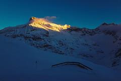 Vrchol Totenkopf 3151 m n./m v posledním světle
