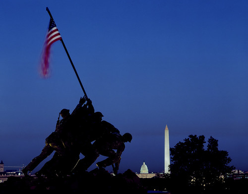 Iwo Jima Memorial at Dusk. Original image from Carol M. Highsmith's America, Library of Congress collection. Digitally enhanced by rawpixel. | by Free Public Domain Illustrations by rawpixel
