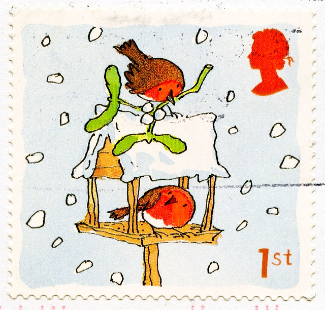beautiful xmas stamp Great Britain 1st (Scarlet Robin, Petroica boodang, мали́новка, Rotbrust-Rotkehlchen, 緋紅鴝鶲, Miro boodang, pardillo) navidad sello noel timbre Great Britain United Kingdom stamps jul frimerker poste-timbres Grande-Bretagne sellos selos