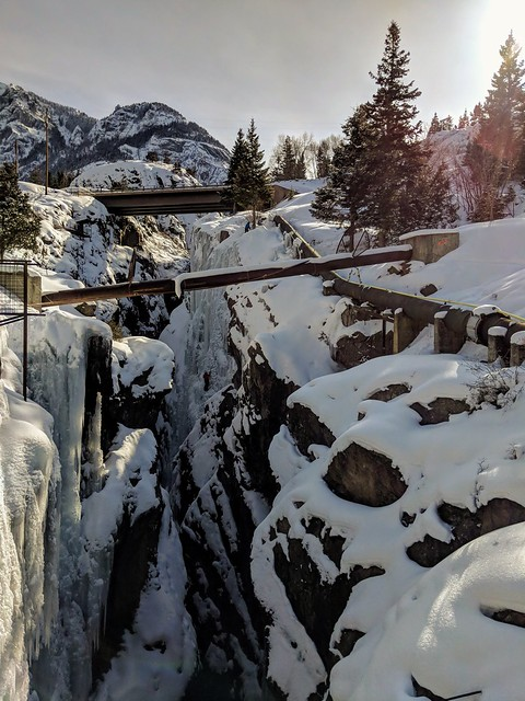 13/365 2019. I had all intentions of using my real camera today, but ran out of battery & the extra wasn't in my bag. Then we made a surprise offer on a house.  What??!!  This is in Ouray, Colorado. It is an ice climbing park. Look closely!