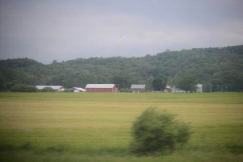 Row of buildings across from field