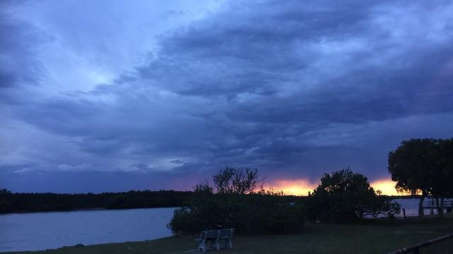 Summer storm clouds, Nudgee Beach, Brisbane, Australia