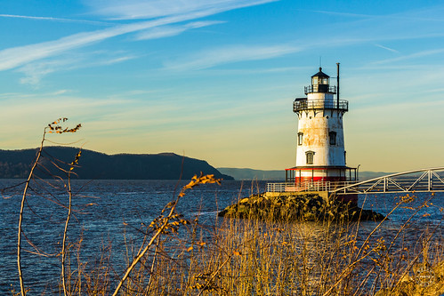 lighthouse historical landscape sunset mountian landmark sky trees hudsonriver westchestercounty newyork water unitedstates us