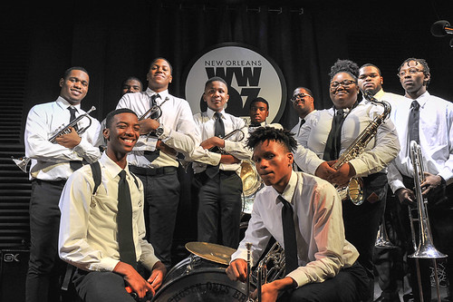 The Chosen Ones Brass Band from Landry Walker HS on School Groove - 11.14.18. Photo by Michael E. McAndrew.