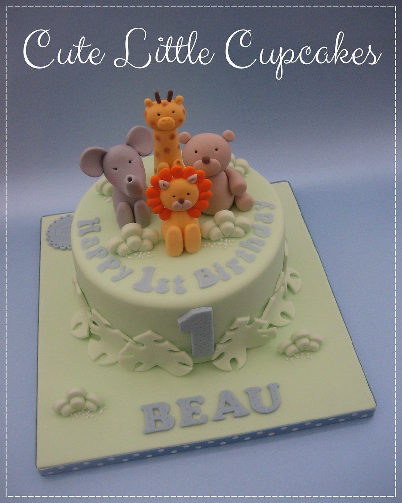 Astounding Cute Safari 1St Birthday Cake Heidi Stone Flickr Funny Birthday Cards Online Elaedamsfinfo