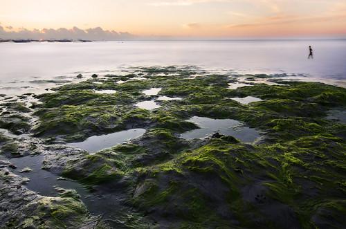 swimmer sunset sunshine landscape land island sea shore holiday mauritius lowtide shallow boats sun horizont longexposure moss clouds