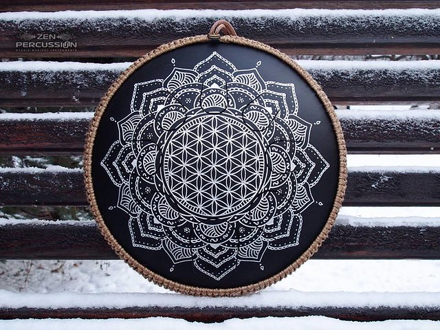 GUDA DRUM Freezbee with Flower of Life design