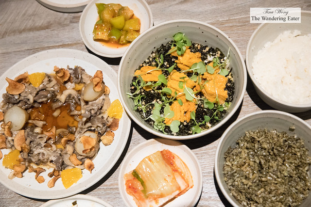 Spread of food - Sunchokes and oyster mushrooms, steamed egg custard with fresh Maine uni, tomatillo kimchi, Napa cabbage kimchi, seaweed rice, and white rice