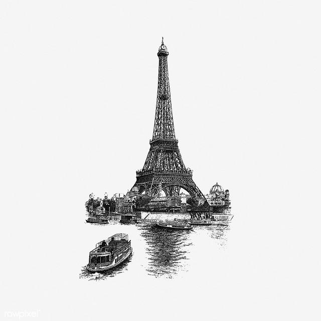 Vintage Eiffel tower illustration