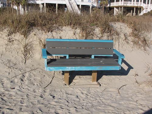 oak island oakislandbeach oakisland northcarolina brunswickcounty beach bench seaoats barrierisland vacation getaway blue shadow parallel lines gerrydincher nc