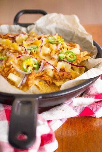 Hawaiian Barbecue Chicken Skillet Nachos | by Isabelle @ Crumb